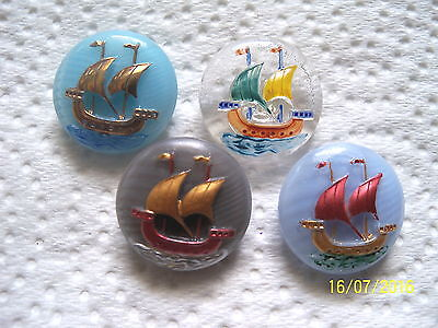 "CZECH GLASS BUTTONS (4 pcs) 7/8""- 22mm COLLECTABLE SHIP   US MIX 017"