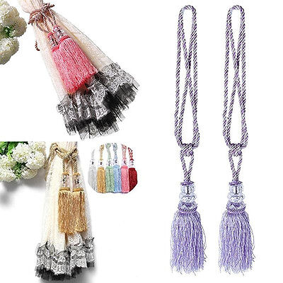 Home Decor 1 Pair Tassel Beaded Tiebacks Window Curtain Fringe Tie New Fashion