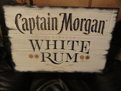 Captain Morgan White Rum Wood SIGN - Brand New