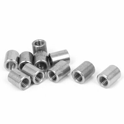 M8 Threaded Insert Tube Adapter 304 Stainless Steel Round Connector Nuts 10pcs