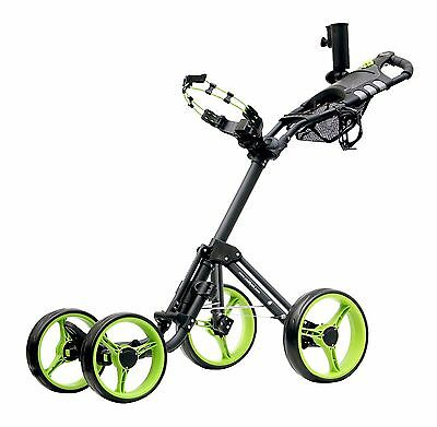 Caddytek Quad Quickfold 4 Bike Golf Push Trolley Pushtrolley 4wheel black green
