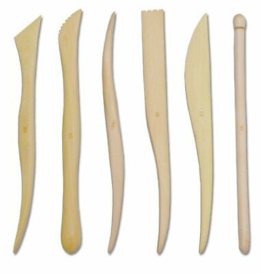 TRIXES Pack of 6 Wooden Clay Shaping Sculpting Tools