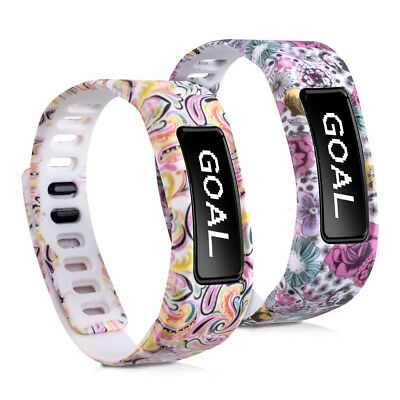 2X Silicone Spare Bracelet For Garmin Vivofit Flowers Dots Multicolor Dark Pink