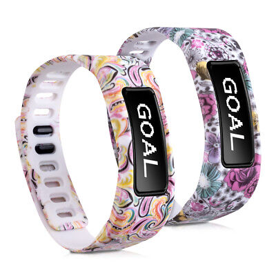 kwmobile 2X SILICONE SPARE BRACELET FOR GARMIN VIVOFIT FLOWERS DOTS MULTICOLOR