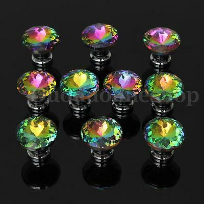 10X 30mm Crystal Handles Knobs For Kitchen Cupboard Wardrobe Cabinet Drawer Door