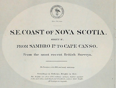 1874 Antique Nautical Sea Sailing Chart Map Halifax Sambro Canso NS Canada