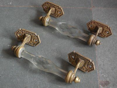 2 Pc Vintage Unique Shape Fine Cut Glass & Brass Victorian Door Handles
