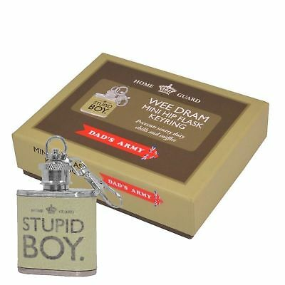Dads Army Mini Hip Flask Keyring New In Gift Box Wee Dram Stupid Boy