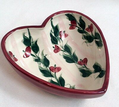 Gail Pittman 1996 Heart shaped Bowl dish  vines flowers pattern ? - signed dated