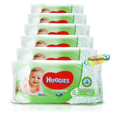 6x Huggies Natural Care Gentle Baby Wipes Aloe Vera No Alcohol 336 Wipes Total