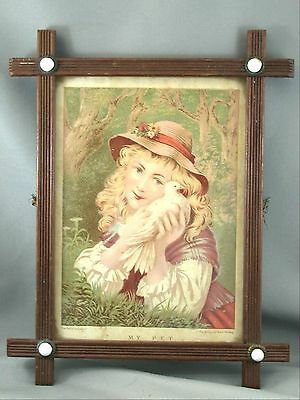 Antique Picture Frame Beaded Wood With Milkglass & Brass Accents My Pet Litho
