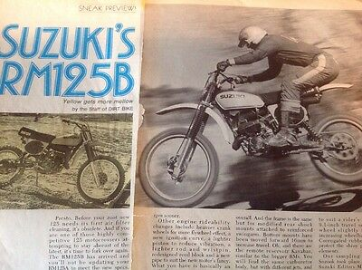 7 Pages Vintage Motorcycle Road Test 1977 Suzuki RM125B Motocross