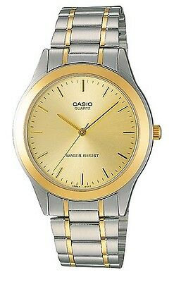 Casio MTP1128G-9A Men's Two Tone Stainless Steel Gold Dial Analog Watch