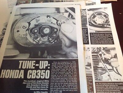 5 Pages Tune Up Vintage 1973 Honda CB350 Article 23 Photo Steps