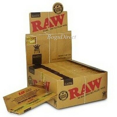 RAW Classic Hemp Natural Unrefined Gum Rolling Papers 50 Booklets Kingsize Slim