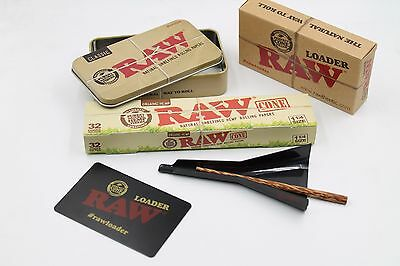 Raw 1 1/4 SIze  Organi Cone Bundle: 1 32 count Box  of Cones+ Raw Loader+Raw Tin