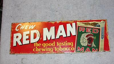 """Vintage Metal Red Man Chew Chewing Tobacco Advertising Sign 5"""" x 15"""" Red"""