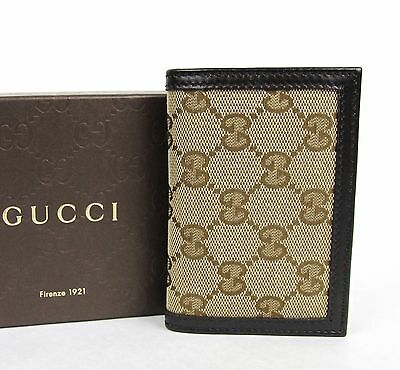 New Gucci Men's Brown Leather Bifold Card Holder Canvas Design 307464 9643