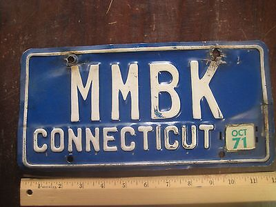 License Plate, Connecticut, 1971, Personalized Vanity: MMBK