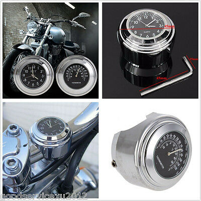 "Waterproof Motorcycles ATV 7/8"" 1"" Handlebar Dial Thermometer Temp & Clock Gauge"
