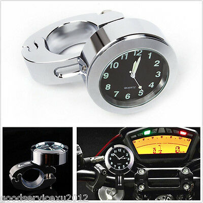 "New 7/8"" to 1"" Waterproof Motorcycles Handlebar Mount Dial Clock Gauge Meter Kit"
