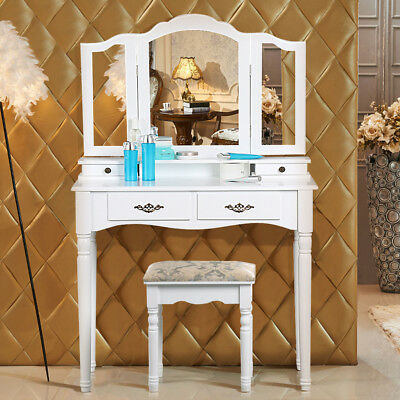 Bedroom Sets White Dressing Table Makeup Desk with Stool 5 Drawers & Oval Mirror