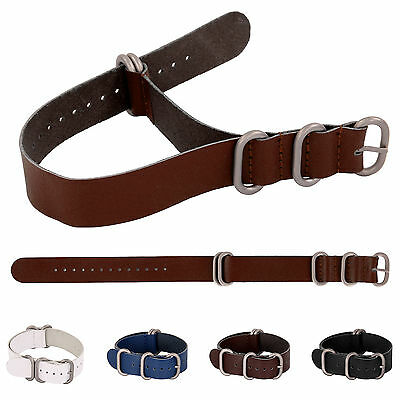 Mens Genuine Leather Military Watch Strap Band Army NATO G10 Design 18/20/22mm