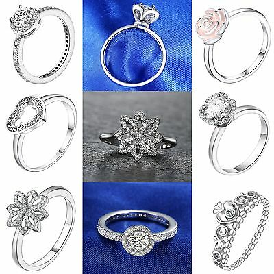 Size 6-9 New Luxury Crystals Rings for Wedding Brand 925 Sterling Silver Jewelry