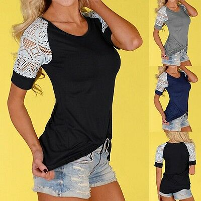 UK 8-26 Women's Short Sleeve Lace Tops T Shirt Ladies Casual Loose Blouse Tees
