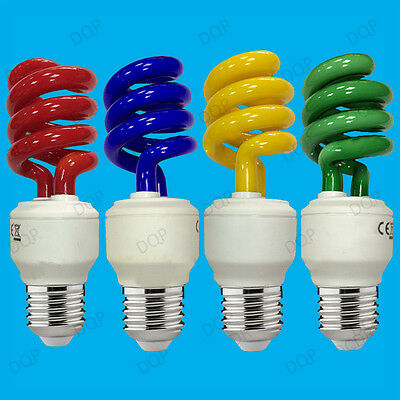 15W Coloured Low Energy CFL Spiral Party Light Bulbs, Edison Screw ES, E27 Lamps