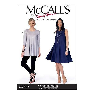 McCALL'S SEWING PATTERN Misses' Flared Knit Top & Dress SIZE 6 - 22 M7407