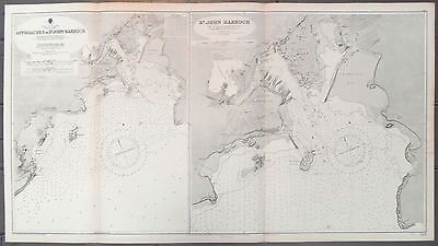 1926 WWII Nautical Sea Sailing Chart Map St John NB Canada SS Essex Lance U-426
