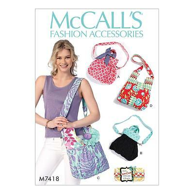 McCALL'S SEWING PATTERN Shoulder Bags with Decorative Accents OSZ M7418