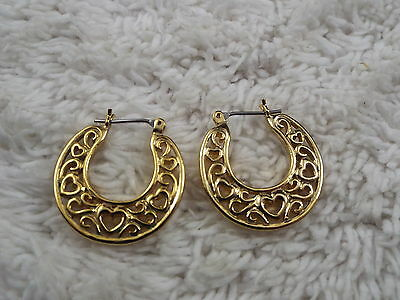 Goldtone Filigree Heart Hoop Pierced Earrings (B25)
