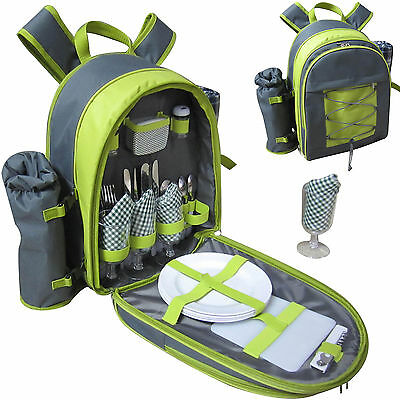 Vivo Country 4 Person Picnic Backpack with Blanket, Cooler, Wine Chiller Cutlery