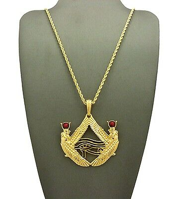 "New Egyptian Eye Of Horus Pendant & 24"" Box/rope Chain Hip Hop Necklace - Xtp57G"