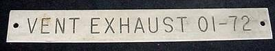Ships Equipment Sign Plaque Vent Exhaust 01-72 Nautical Hardware