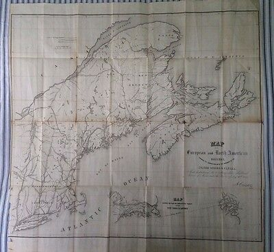 1850 MAP OF EUROPEAN AND NORTH AMERICAN RAILWAY Lithographed Railroad Map RARE