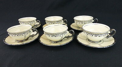 Mitterteich Bavaria Footed Cups and Saucers Set of 6 Platinum Scalloped MIT87
