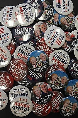 Donald Trump Mike Pence 100 Wholesale Assorted Campaign Buttons  FREE Shipping