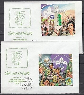 """ Libya, Scott cat. 1012-1013. Scouting Anniversary on 2 First day covers."