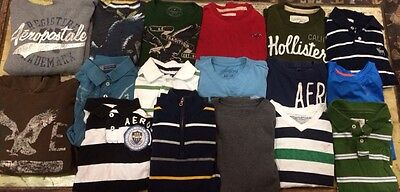 Huge Mens Boys Abercrombie Hollister AE Aeropostale Shirt Hoodie Lot Sz XS Small