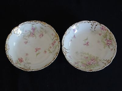 Theodore Haviland Limoges France 2 Berry Bowls Schleiger 147-17 Pink Flowers