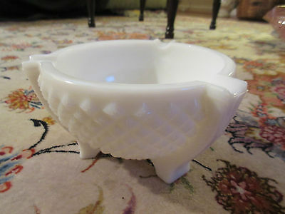 Milk Glass Bowl Footed Ashtray