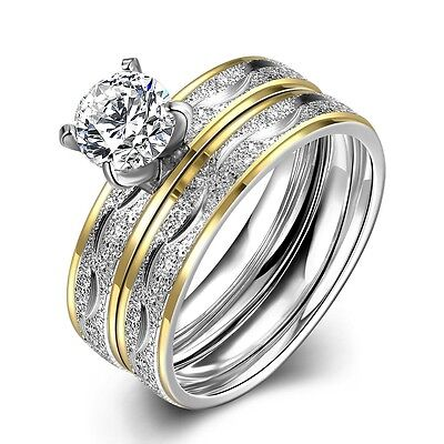 Creative 7mm CZ Stone Gold&Silver Stainless Steel Rings Set Jewelry