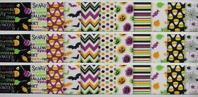 "BB Ribbon HALLOWEEN DESIGNS BLOCK 2m grosgrain 1""  25mm bats web patterns"