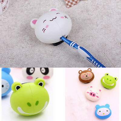 Cartoon Toothbrush Holder Stand Mount With Suction Grip Wall Rack Home Bathroom@