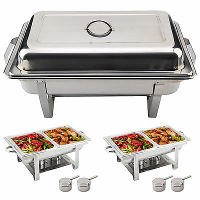New 2 PACK STAINLESS STEEL CHAFING DISH SETS WITH 2 FOOD PANS, FUEL SPOONS UK