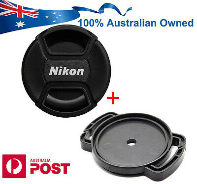 Nikon Fit Lens Cap 52 55 58 62 67 72 77mm Front Snap On + Buckle Holder