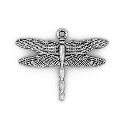 Packet of 10 x Antique Silver Tibetan 36mm Charms Pendants (Dragonfly) ZX09245